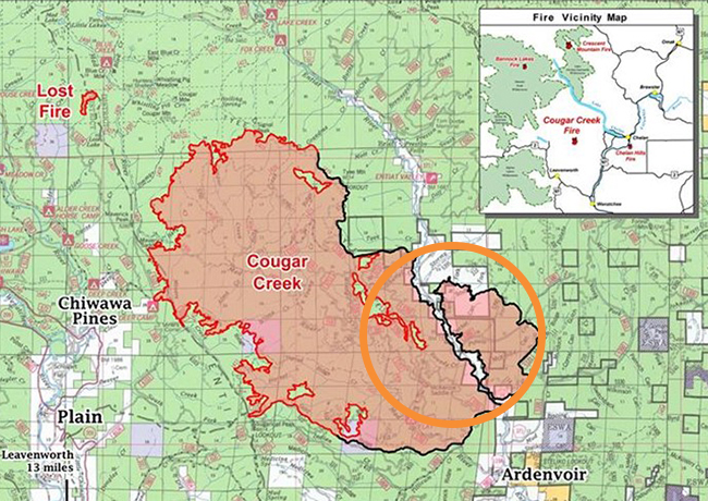 A map of the Cougar Creek fire