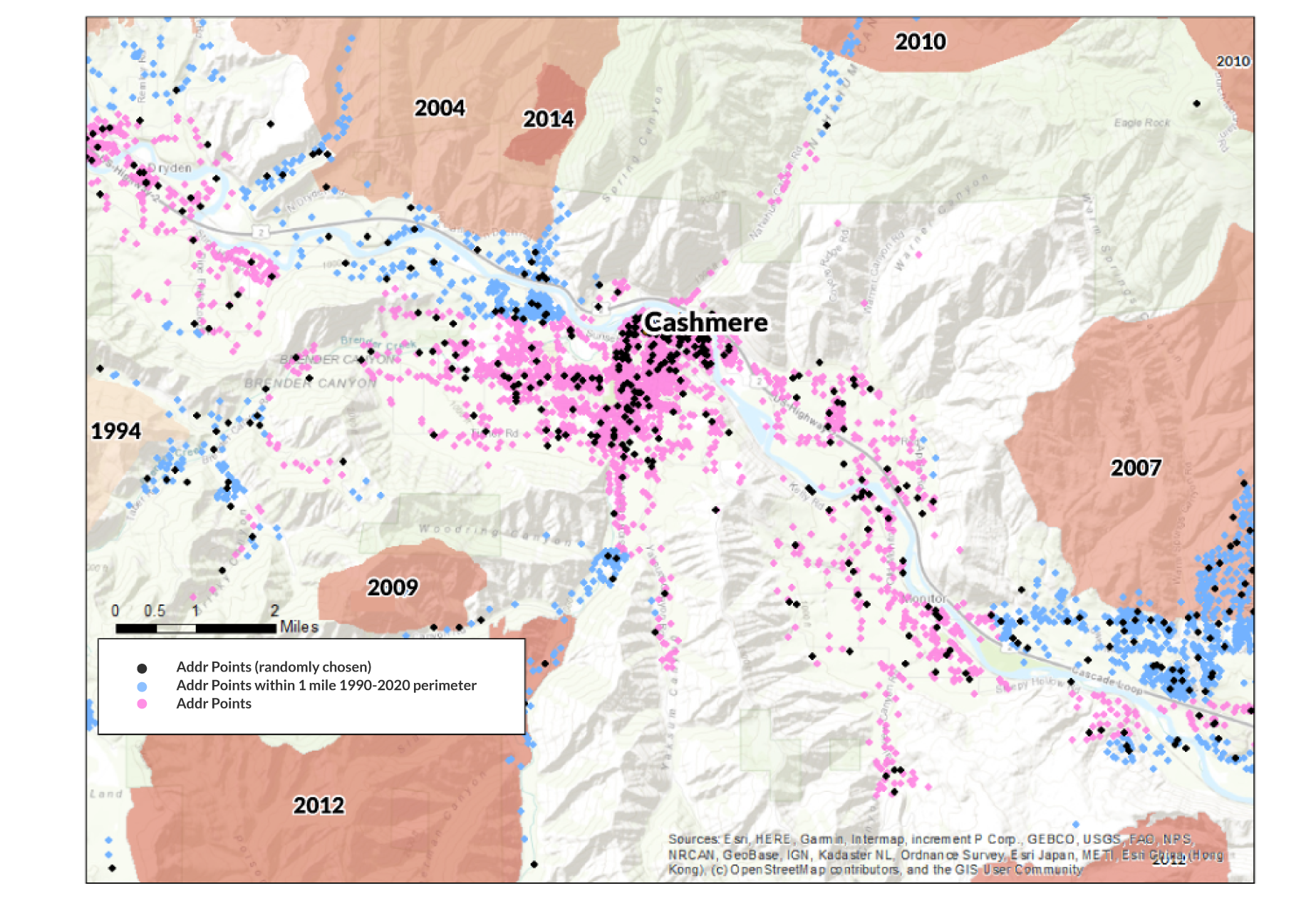A map of Cashmere, WA, historic wildfire perimeters and 10% of address points randomly selected