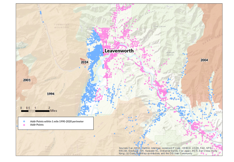 A map of Leavenworth, WA and historic wildfire perimeters