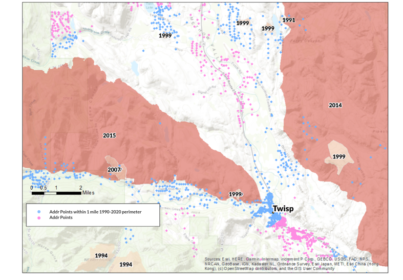 A map of Twisp, WA and historic wildfire perimeters