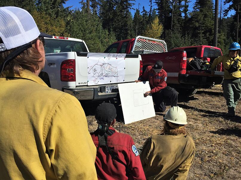Firefighters plan a prescribed fire