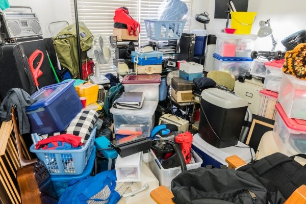 Clutter fills a room and prevents firefighters from entering