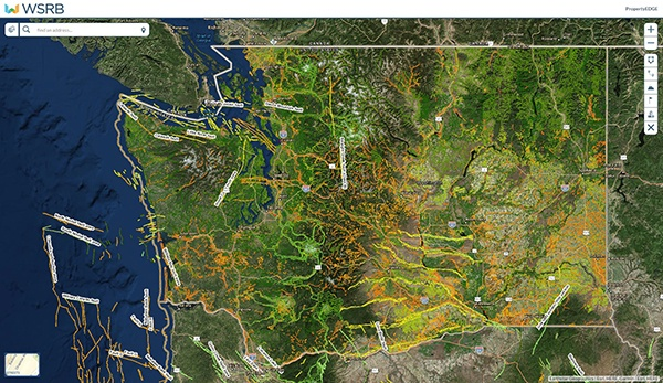 A map of Washington state showing earthquake fault lines