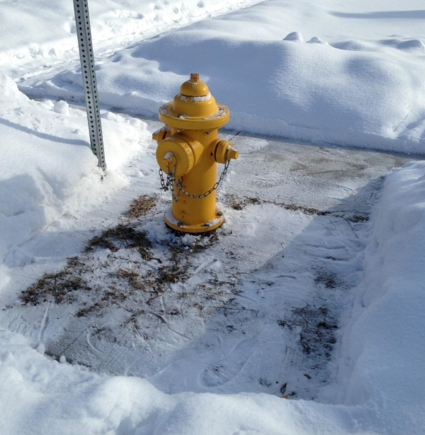 A fire hydrant cleared of snow