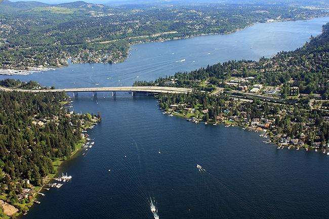 Aerial view of Seattle bridge and Mercer Island