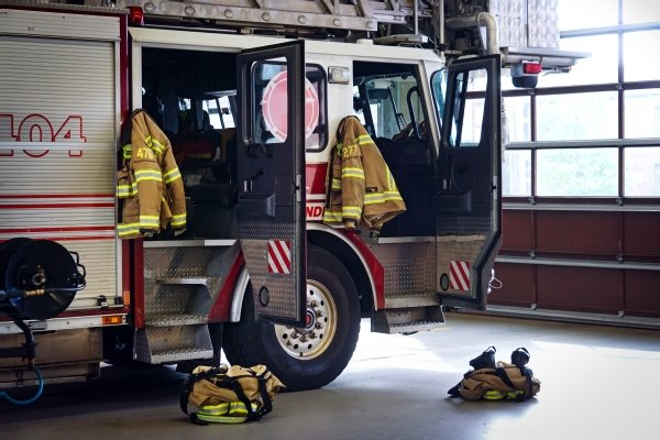 A fire truck and firefighting gear