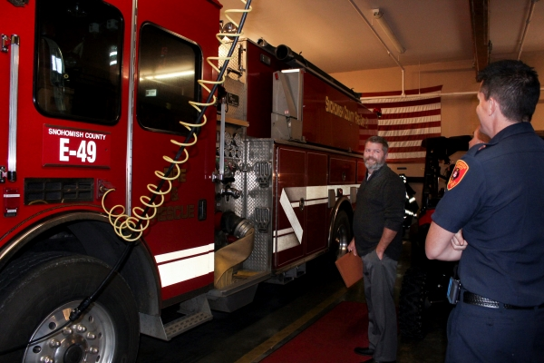 WSRB fire protection analyst looking at fire engine