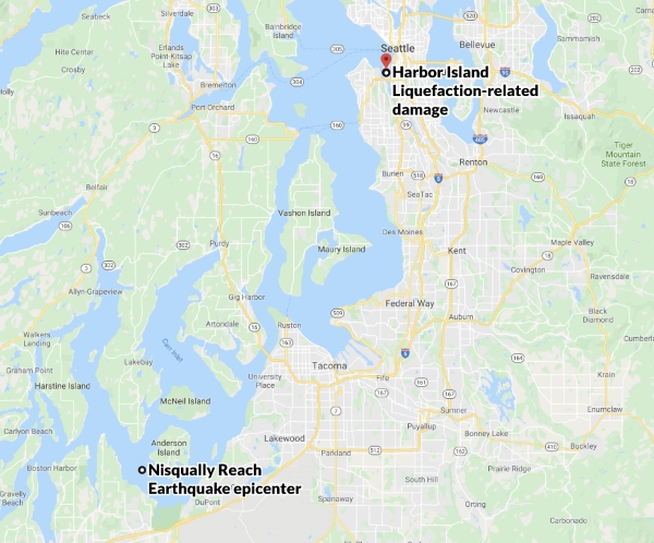 Nisqually quake liquefaction damage distance to epicenter