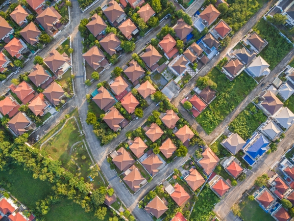 Aerial shot of homes in a suburb
