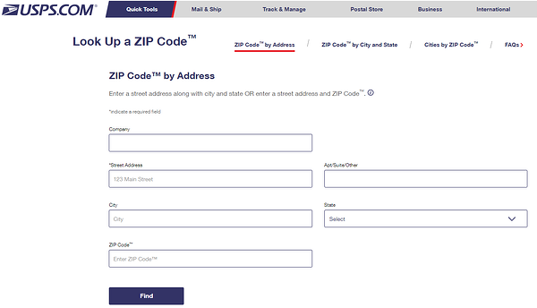 The USPS ZIP code locator