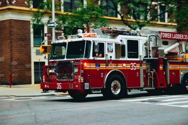 A fire truck with a ladder
