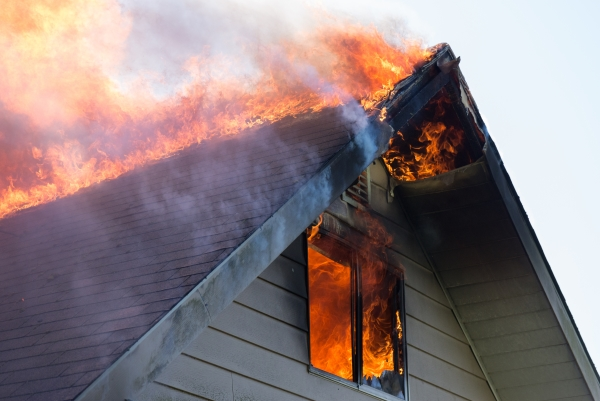 The attic of a home burning