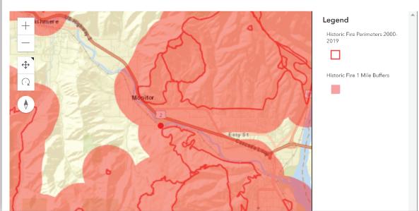 WSRB Wildfire Risks Tool historic wildfire buffers