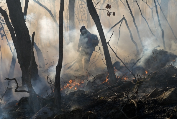 A firefighter fights a wildfire