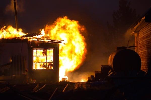 Arson fire burning
