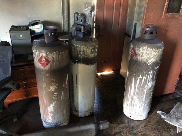 Three butane takes found at a cannabis processing facility