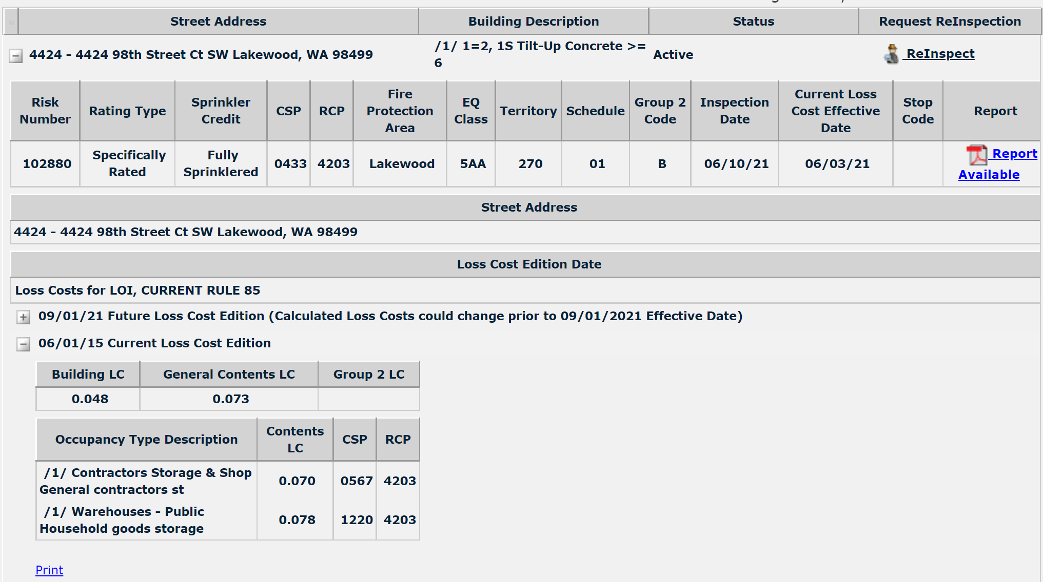 Loss Cost sample