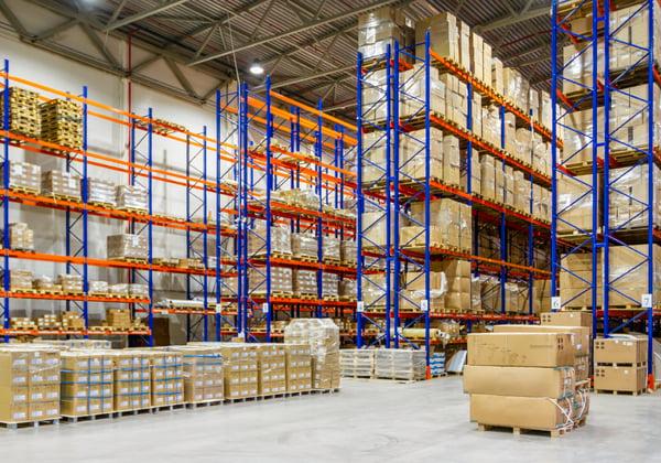 A warehouse with storage on racks