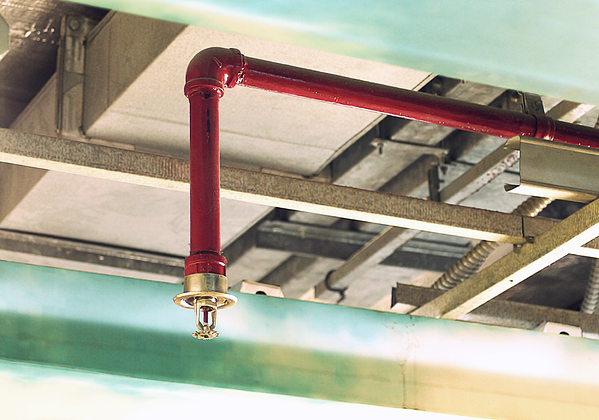An automatic fire sprinkler system in a commercial building