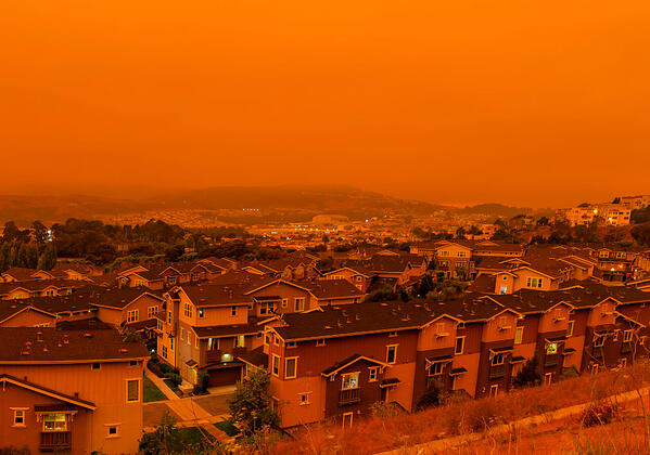 Wildfire smoke blankets a community