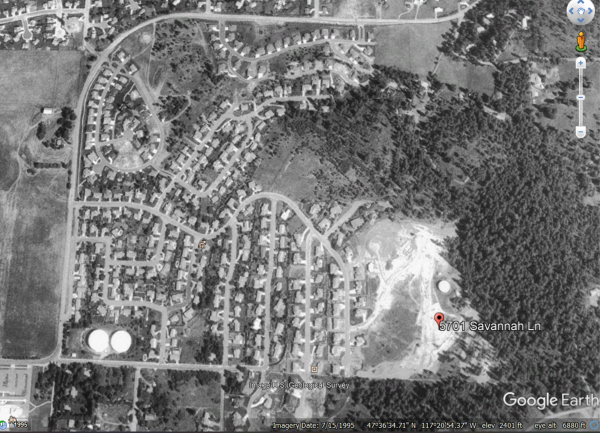 A satellite image of an area in the wildland-urban interface in 1995