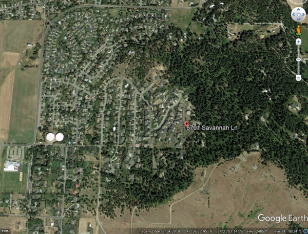 Satellite image of WUI in Spokane from 2018