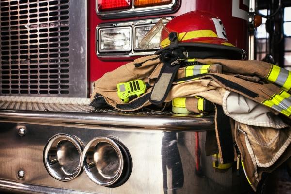 Firefighter gear on truck
