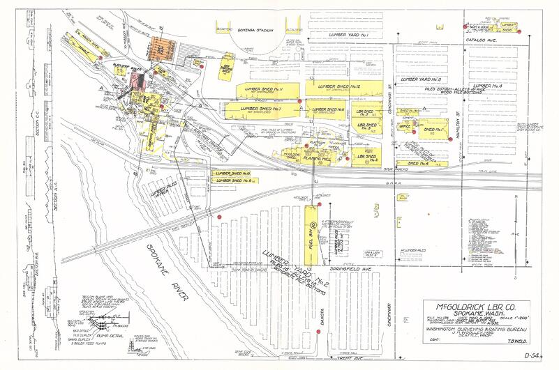 A map of McGoldrick Lumber Co. from 1932