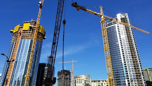 Skyscrapers being built according to modern building codes